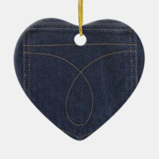 濃紺のデニムのポケット セラミックオーナメント