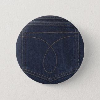 濃紺のデニムのポケット 5.7CM 丸型バッジ