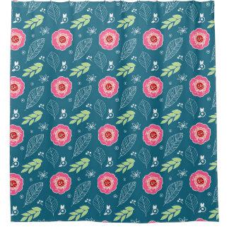 濃紺のピンク花パターンシャワー・カーテン シャワーカーテン