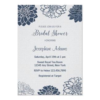 濃紺のブライダルシャワーの招待状 カード