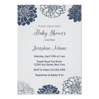 濃紺のベビーシャワーの招待状 カード