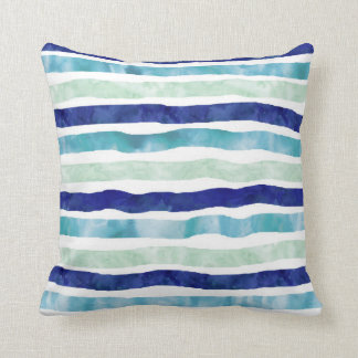 濃紺のミントの水彩画パターン枕 クッション