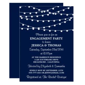濃紺のモダンなひもは婚約パーティをつけます 12.7 X 17.8 インビテーションカード