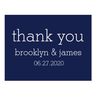 濃紺のモダンな結婚式は郵便はがき感謝していしています はがき