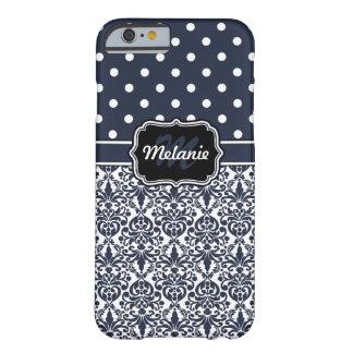 濃紺のモノグラムのなダマスク織の水玉模様パターン BARELY THERE iPhone 6 ケース