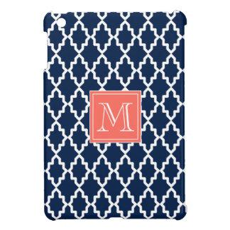 濃紺のモロッコの珊瑚のモノグラム iPad MINIケース