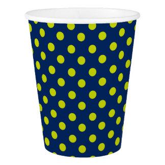 濃紺のライムグリーンの水玉模様 紙コップ
