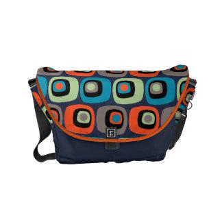 濃紺のレトロのモダンな正方形および円パターン メッセンジャーバッグ
