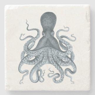 濃紺のヴィンテージのタコのイラストレーション ストーンコースター