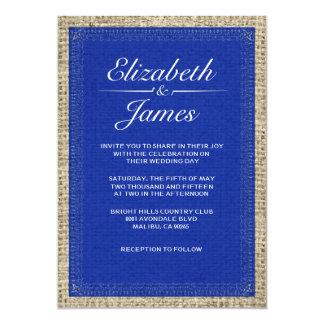 濃紺のヴィンテージのバーラップの結婚式招待状 12.7 X 17.8 インビテーションカード