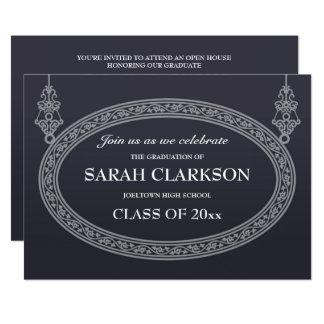 濃紺のヴィンテージの卒業のパーティの招待状 カード