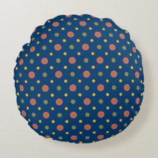 濃紺の円形の枕の予測できないジャンボ水玉模様 ラウンドクッション