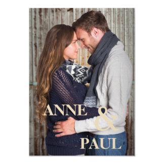 濃紺の写真の結婚式招待状 カード