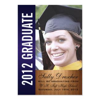 濃紺の写真2012の卒業生 12.7 X 17.8 インビテーションカード