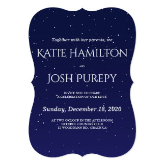 濃紺の冬の結婚式招待状 カード