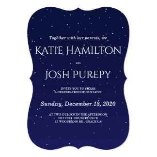 濃紺の冬の結婚式招待状 12.7 X 17.8 インビテーションカード
