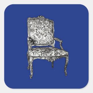 濃紺の執権期間の椅子 スクエアシール