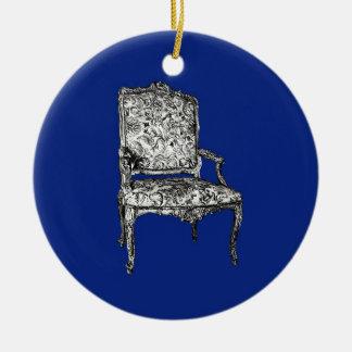 濃紺の執権期間の椅子 セラミックオーナメント