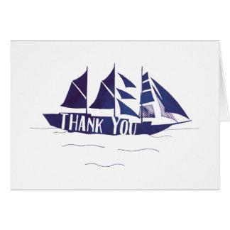 濃紺の大きい船の帆ボートはメッセージカード感謝していしています カード