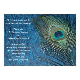 濃紺の孔雀の結婚式 12.7 X 17.8 インビテーションカード
