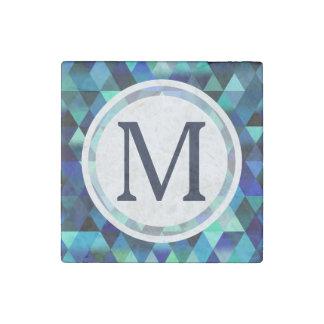 濃紺の幾何学的な三角形パターン ストーンマグネット