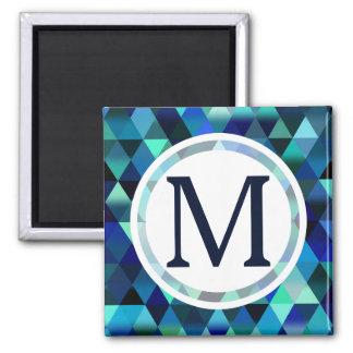 濃紺の幾何学的な三角形パターン マグネット