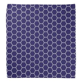 濃紺の幾何学的な蜜蜂の巣の六角形パターン バンダナ