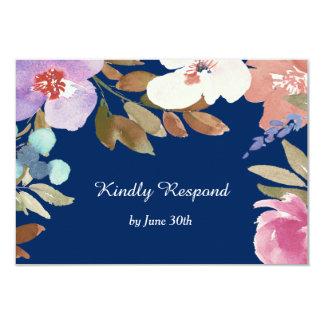 濃紺の庭花の結婚RSVP 8.9 X 12.7 インビテーションカード