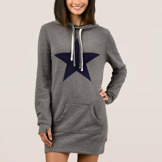 濃紺の星の女性のフード付きスウェットシャツの服 ドレス