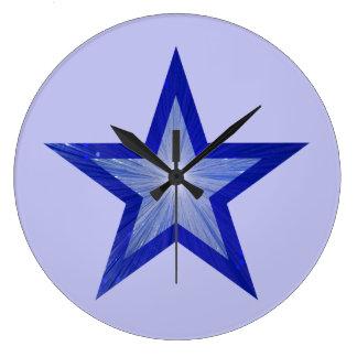 濃紺の星の時計の円形の淡いブルー ラージ壁時計