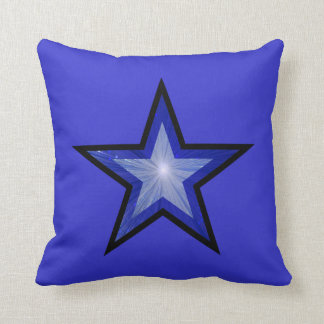 濃紺の星の黒の「文字」の正方形の青 クッション