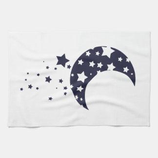 濃紺の月および星のシルエットの魔法の空 キッチンタオル