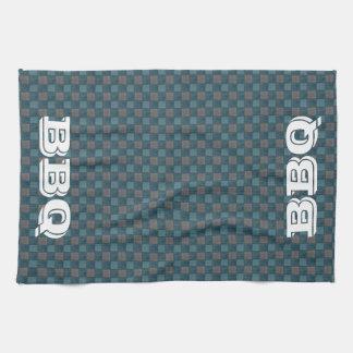 濃紺の格子縞の点検BBQの台所タオル キッチンタオル