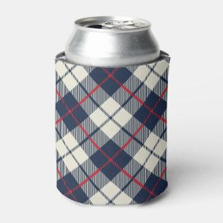 濃紺の格子縞パターン 缶クーラー
