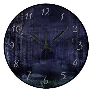濃紺の気色悪い森林 ラージ壁時計