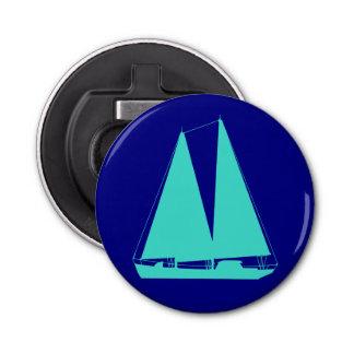 濃紺の沿岸装飾のターコイズのヨット 栓抜き
