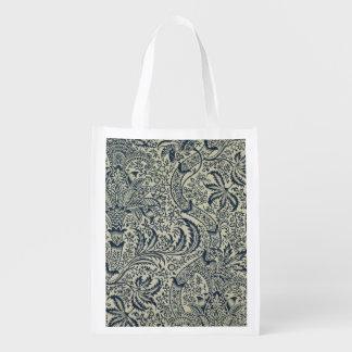 濃紺の海藻スタイルのデザインの壁紙 エコバッグ