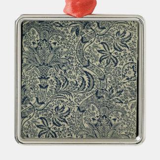 濃紺の海藻スタイルのデザインの壁紙 メタルオーナメント