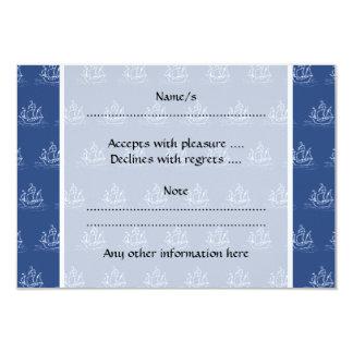 濃紺の海賊船パターン カード