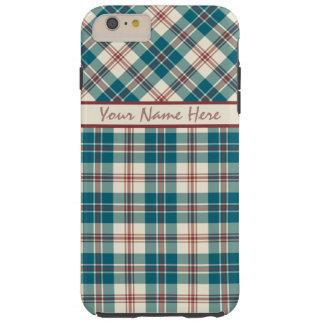濃紺の深紅のベージュ格子縞のiPhone 6のプラスの場合 Tough iPhone 6 Plus ケース