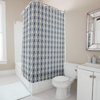 濃紺の灰色のタツノオトシゴパターン シャワーカーテン