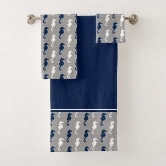 濃紺の灰色のタツノオトシゴパターン バスタオルセット