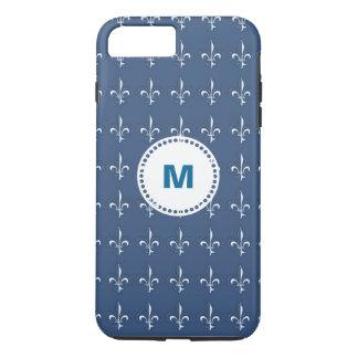 濃紺の白いいかりパターンモノグラム iPhone 8 PLUS/7 PLUSケース