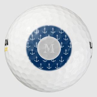 濃紺の白いいかりパターン、灰色のモノグラム ゴルフボール