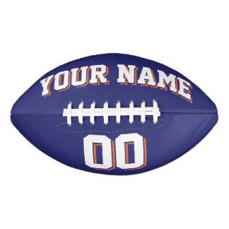 濃紺の白いおよびオレンジカスタムなフットボール アメリカンフットボール