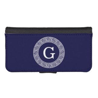 濃紺の白いギリシャ人の鍵のRndフレームのイニシャルのモノグラム iPhoneSE/5/5sウォレットケース