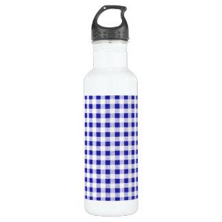 濃紺の白いギンガムパターン ウォーターボトル