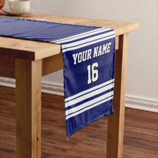 濃紺の白いチームジャージーカスタムな数名前 ミディアムテーブルランナー