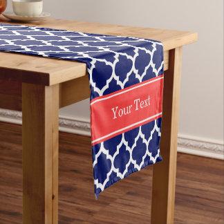 濃紺の白いモトッコ人#5の珊瑚の赤い一流のモノグラム ショートテーブルランナー