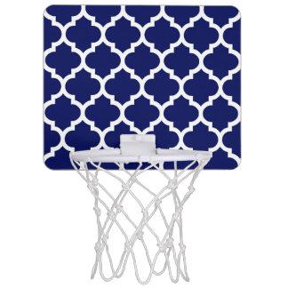 濃紺の白いモロッコのクローバーパターン#5 ミニバスケットボールゴール